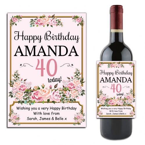 Personalised Vintage Floral Happy Birthday Wine / Champagne Bottle Label N176 - Any Age
